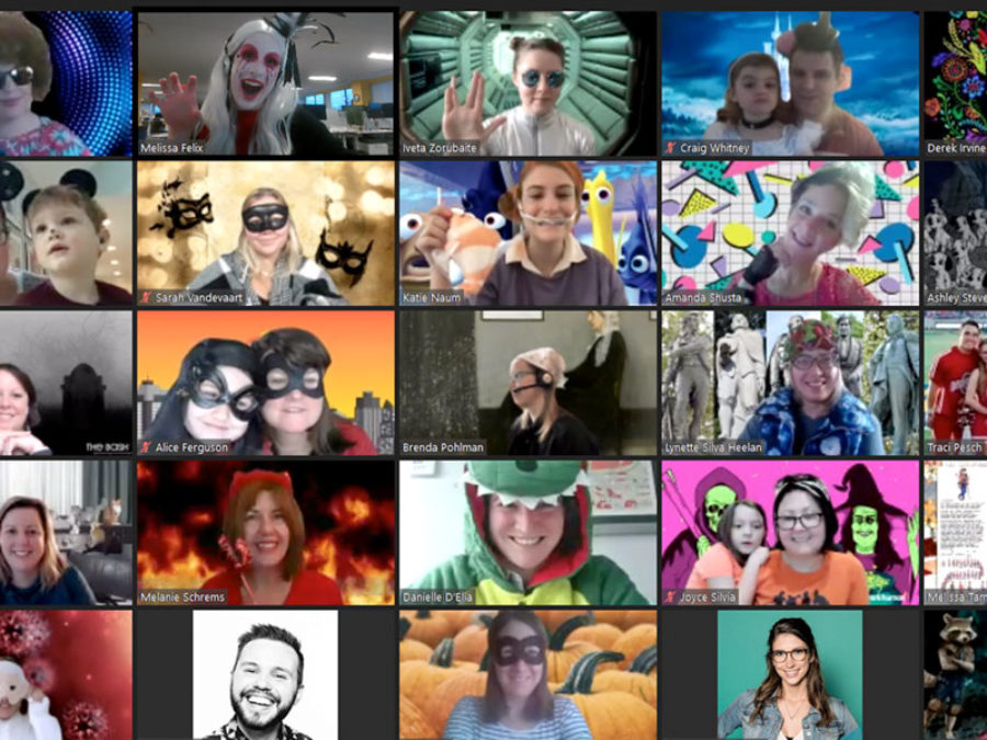 collection of people on a zoom call dressed up for halloween