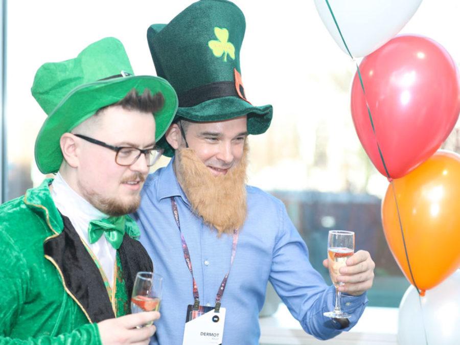 People celebrating St Patricks Day wearing leprechaun hats