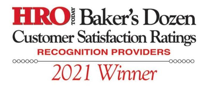 HRO Today Baker's Dozen Customer Satisfaction Ratings 2021 Winner